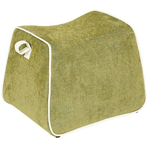 Rory Moss Green Fabric Saddle Ottoman
