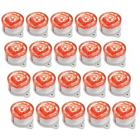 Set of 20 Red LED Solar-Powered Marker Lights
