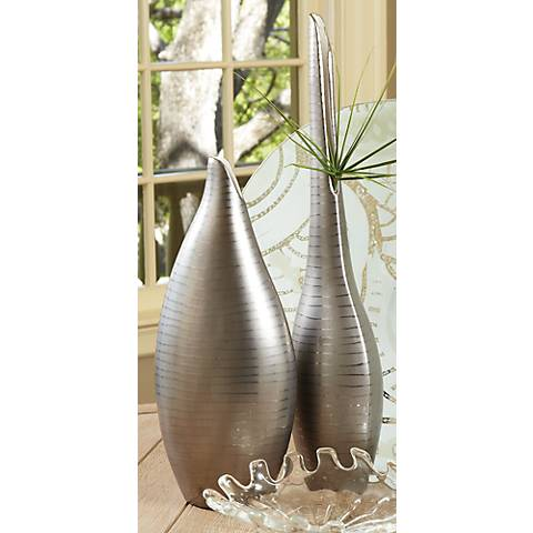 "Platinum Silver Striped Large Tall 20"" High Decorative Vase"