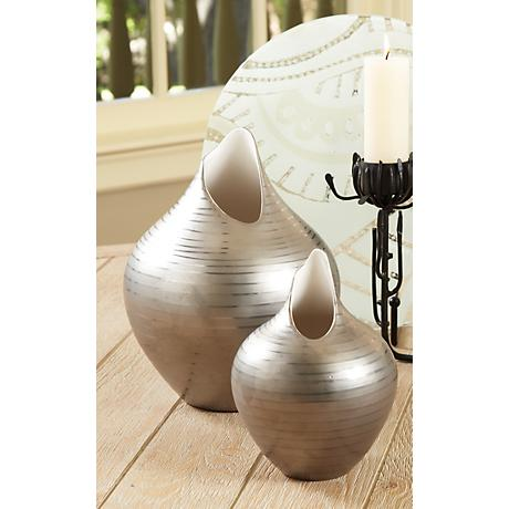 "Platinum Silver Striped 12"" High Decorative Vase"
