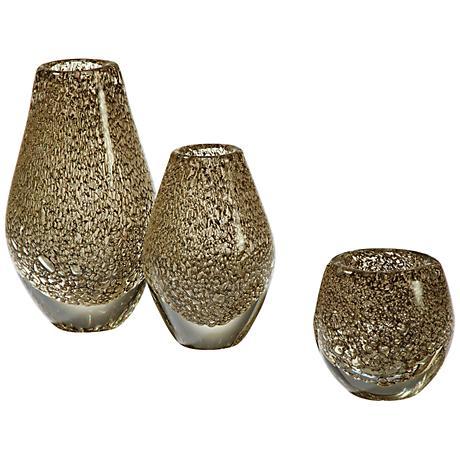 "Platinum Net Large 10 1/2"" High Metal and Glass Vase"