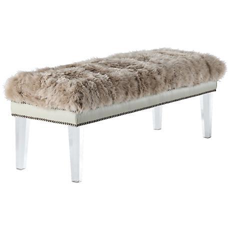 Luxe Beige Sheepskin Lucite Bench