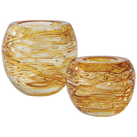 """Phyllo Golden Small Thick Glass 4 1/4"""" High Vase"""