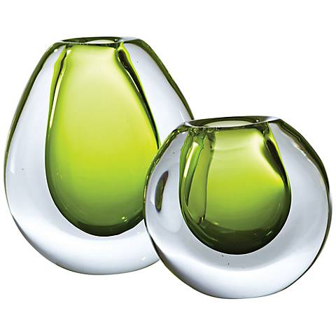 "Limeade Green Ice Large 10 1/4"" High Glass Vase"