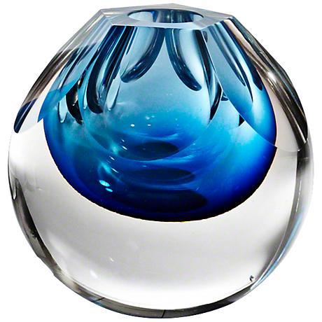 "Pentagon Cut Glass Cobalt Blue 7"" High Vase"