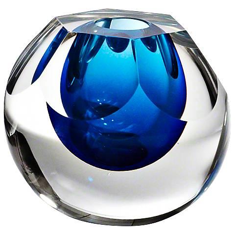 """Hexagon Cut Glass Cobalt Blue 7 3/4"""" High Vase"""