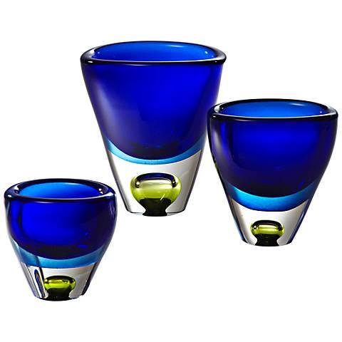 "Perlette Small Cobalt Blue 4 3/4"" High Glass Vase"