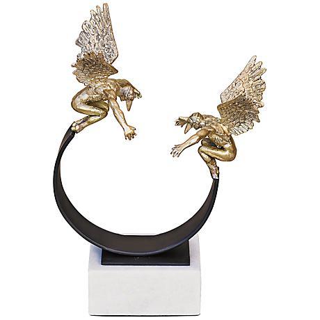 "Masquerade 11"" High Brass Winged Sculpture"