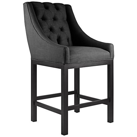 "Alexa 30"" Charcoal Linen Bar Stool"
