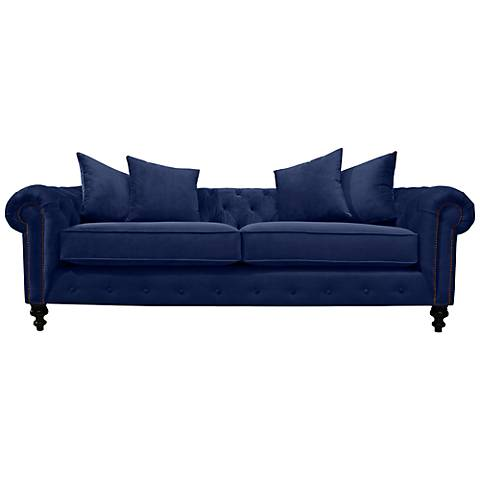"Latrice Blue Velvet Large 90"" Wide Hand-Crafted Sofa"