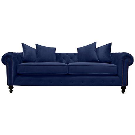 Latrice Blue Velvet Large Hand-Crafted Sofa