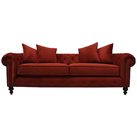 "Latrice Red Velvet Large 90"" Wide Hand-Crafted Sofa"