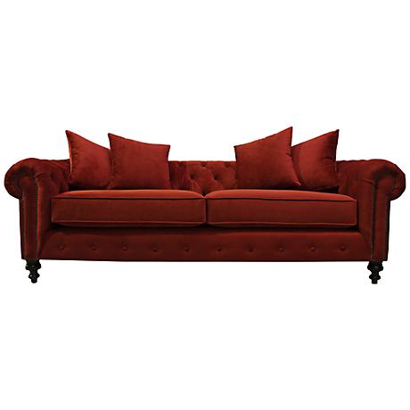 Latrice Red Velvet Large Hand-Crafted Sofa
