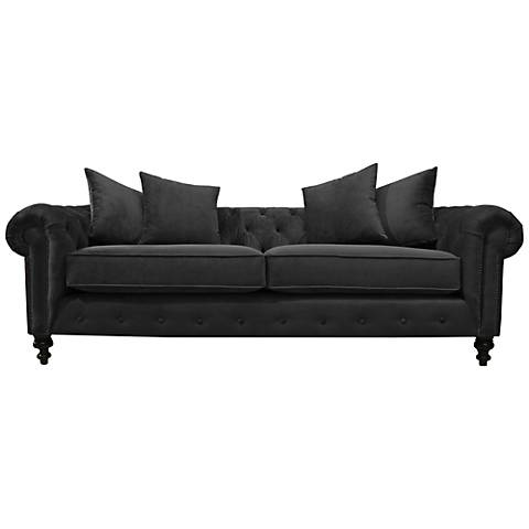 "Latrice Pewter Velvet Large 90"" Wide Hand-Crafted Sofa"
