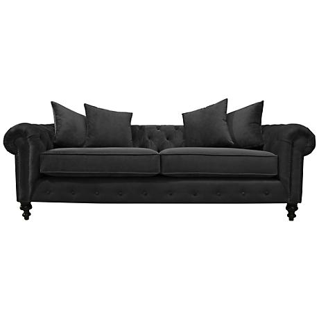 Latrice Pewter Velvet Large Hand-Crafted Sofa