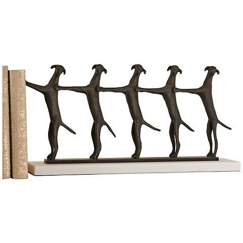 "Golden Conga Line 18"" Wide Bronze Dog Sculpture"