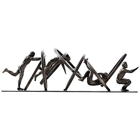 """Jumping Through Hoops 19"""" Wide Iron Sculpture"""