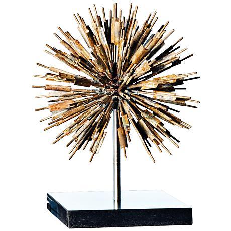 """Golden Dandelion 11"""" High Gold and Black Sculpture"""