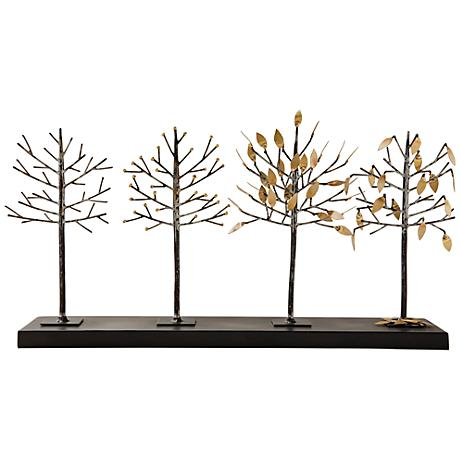 """Four Seasons Gold and Bronze 24 1/2"""" Wide Tree Sculpture"""