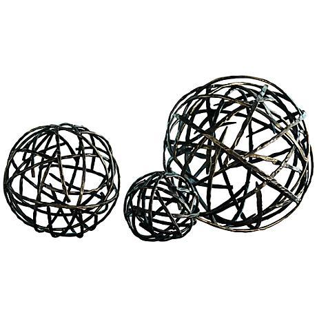 Strap Black Bronze Large Decorative Sphere