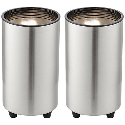 """Brushed Steel 6 1/2"""" High Accent Can Spot Lights Set of 2"""