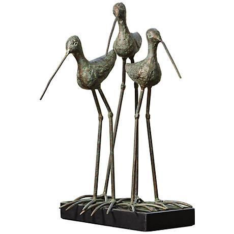 "Sandhill Cranes Verdi Green 13 1/2"" High Iron Sculpture"