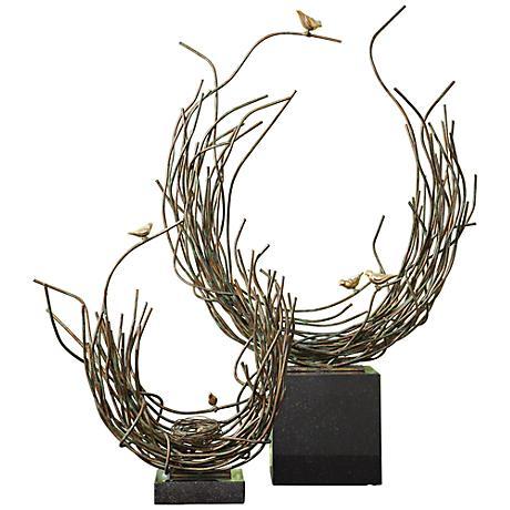 """Bird's Nest Verdi Green 21 1/2"""" High Iron Sculpture"""