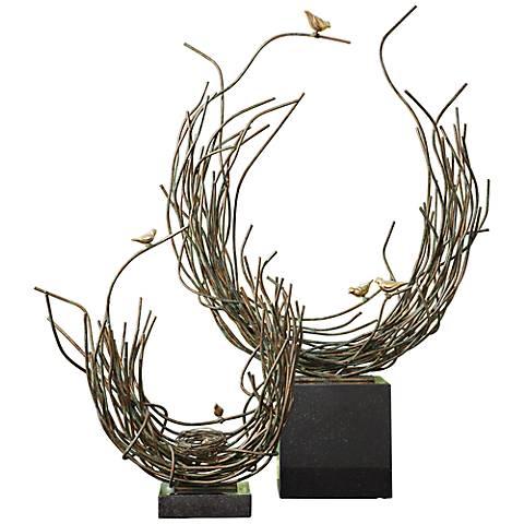 """Bird's Nest Verdi Green 15 1/4"""" High Iron Sculpture"""