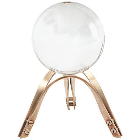 """Crystal Ball 9"""" High Brass Stand Sculpture"""
