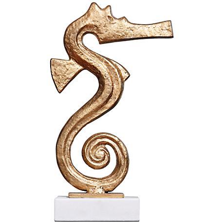"Gold Seahorse 15 3/4"" High Decorative Iron Sculpture"