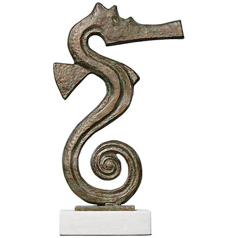 "Green Seahorse 15 3/4"" High Decorative Iron Sculpture"