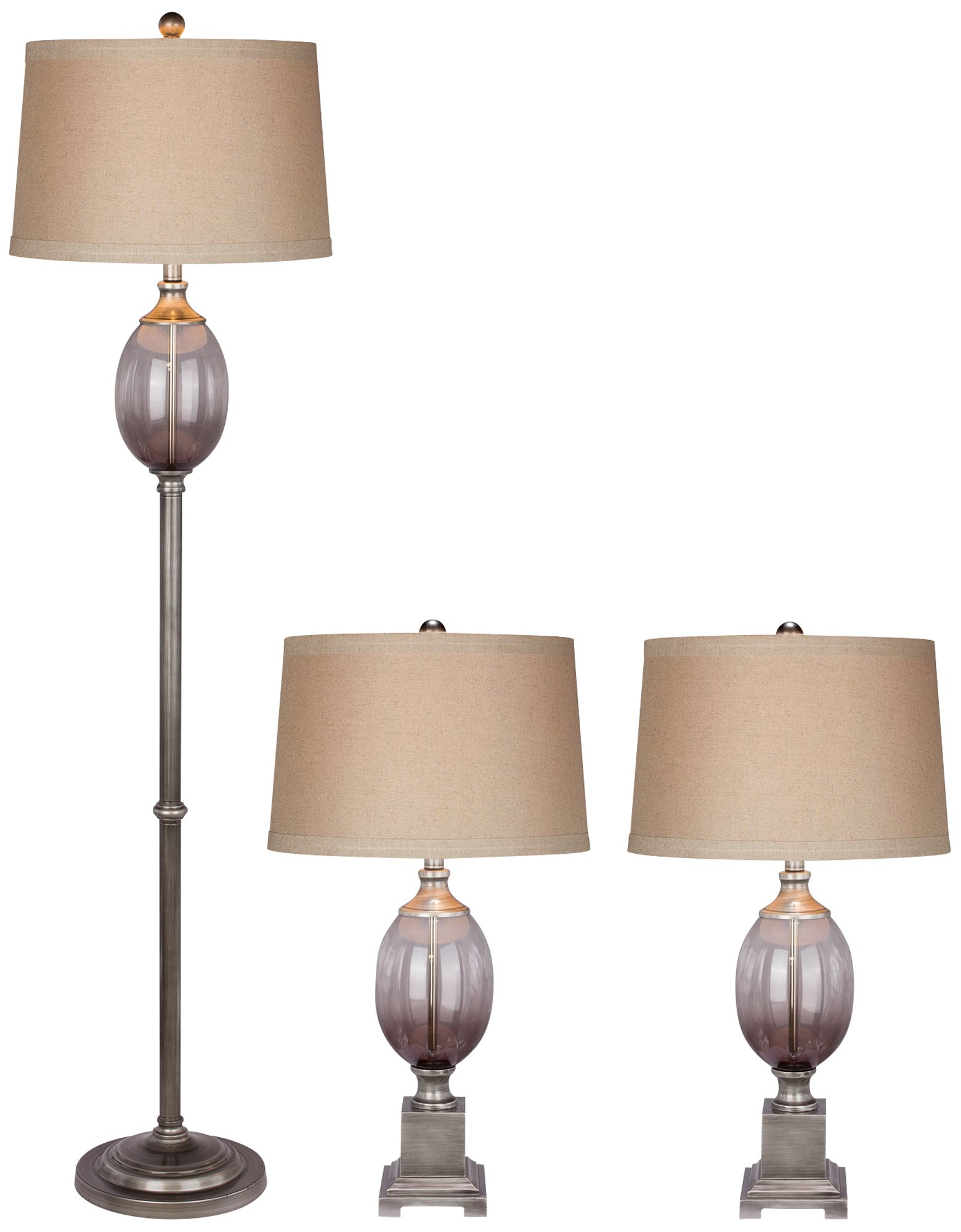 Toldos Gray Metal And Glass Floor And Table Lamp Set