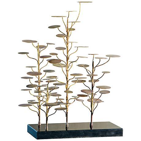 "Gold and Black Eucalyptus Tree 18"" High Sculpture"