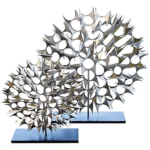 """Cosmos Nickel 37 1/2"""" High Decorative Sculpture"""