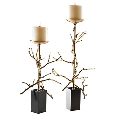 Twig Brass Plated Small Decorative Pillar Candle Holder