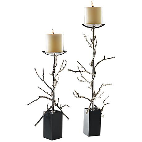 Twig Nickel Plated Large Decorative Pillar Candle Holder