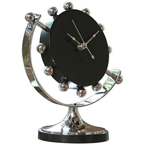"""Axis Nickel Plated 9"""" High Tabletop Clock"""