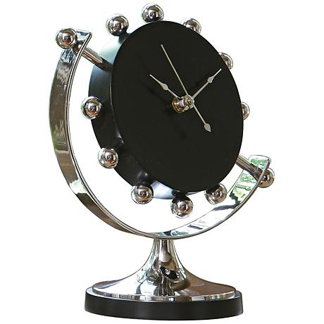 "Axis Nickel Plated 9"" High Tabletop Clock"