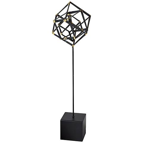 "Tilted Cube 24"" High Large Iron Sculpture"