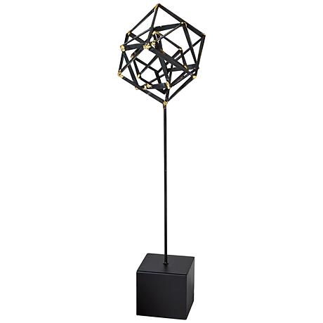 """Tilted Cube 24"""" High Large Iron Sculpture"""
