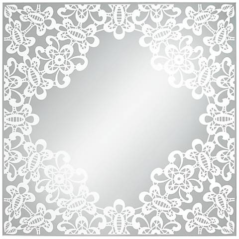 "Carlyss Lace Cutout 34"" Square Wall Mirror"
