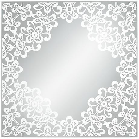 "Carlyss Lace Cutout 34"" Square Wall Mirror"
