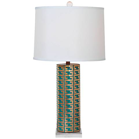 Port 68 Cameron Peacock and Gold Porcelain Table Lamp