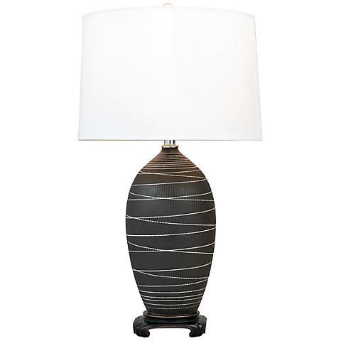 Port 68 Large Saturn Black Porcelain Table Lamp