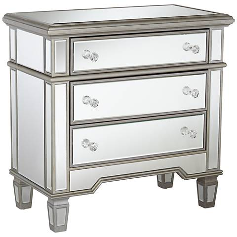 Monaco 3-Drawer Silver Leaf Mirrored Accent Chest
