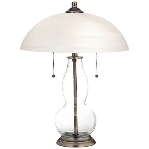 Clear Fillable Gourd-Shaped Table Lamp with Alabaster Shade