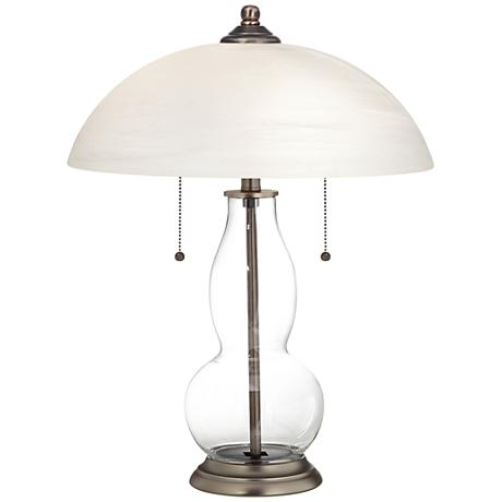 Fillable Glass Table Lamp Base Clear Fillable Gourd-Shaped Table Lamp with Alabaster Shade - #8C921 ...