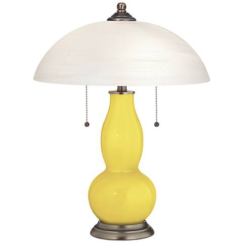 Lemon Twist Gourd-Shaped Table Lamp with Alabaster Shade