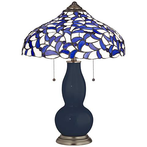 Naval Gourd Table Lamp with Iris Blue Shade