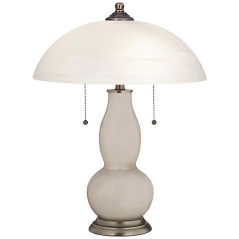 Pediment Gourd-Shaped Table Lamp with Alabaster Shade